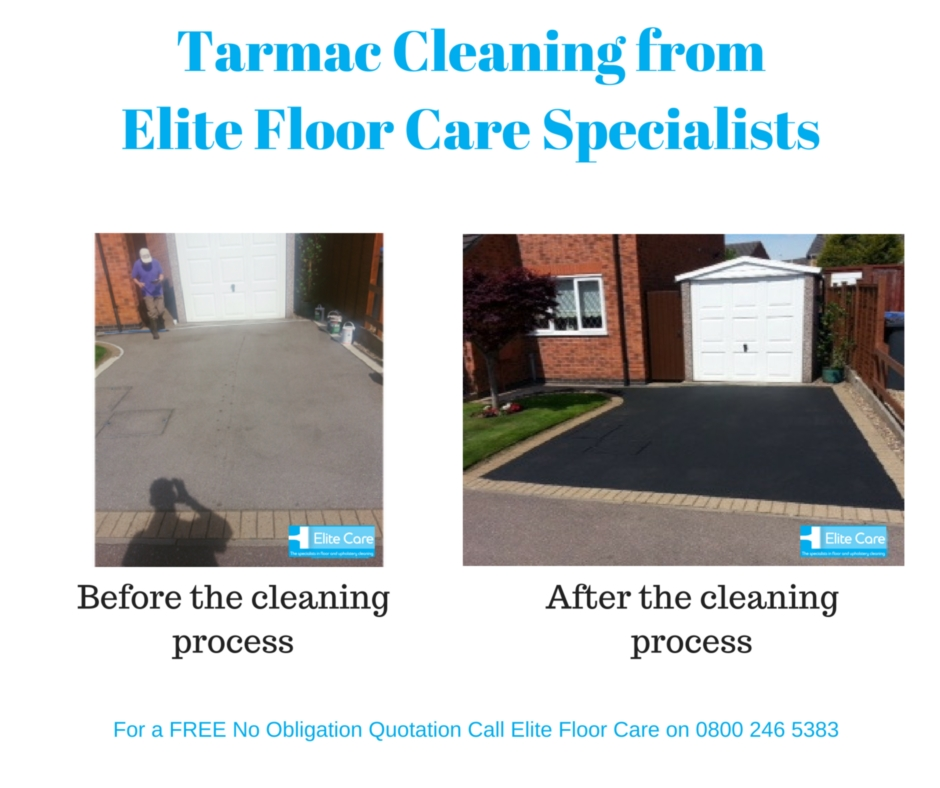 Tarmac Cleaning Before and After from Elite Floor Care Specialists, see more at www.elitefloorcarespecialists.com